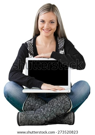 Teenager. Beautiful Girl on Floor with Laptop - stock photo