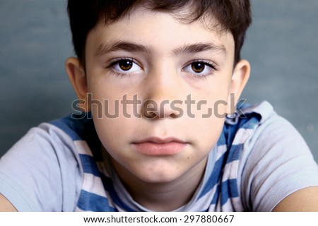 teenager boy close-up face portrait - stock photo