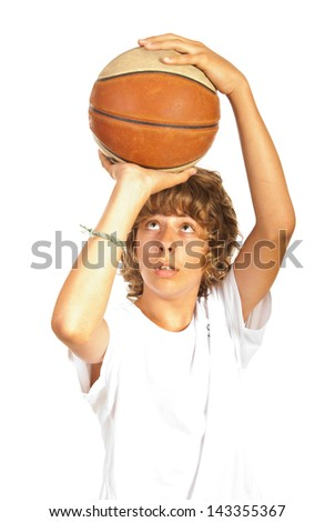 Teenager boy prepare to throwing basketball isolated on white background - stock photo