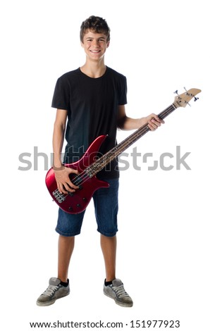 Teenager boy with bass guitar smiling, isolated on white - stock photo