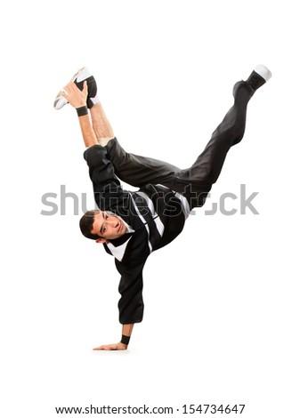 Teenager dancing break dance in action - stock photo