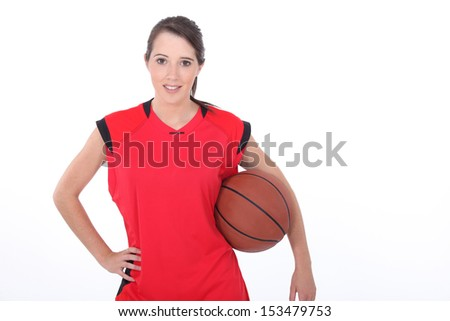 Teenager female basketball player - stock photo