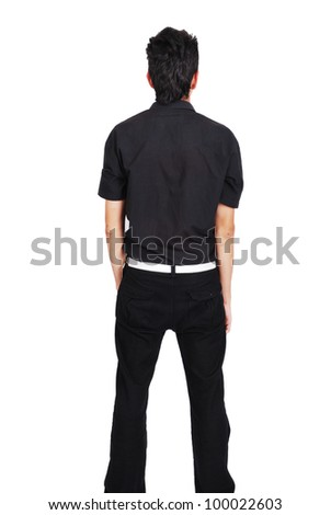 teenager from back isolated on white - stock photo