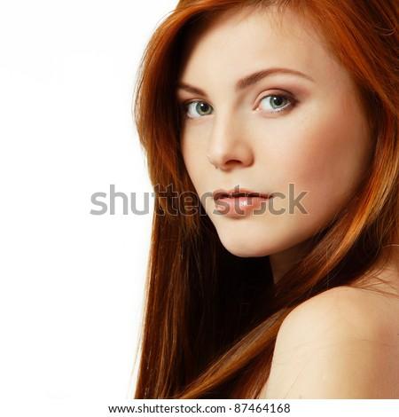 teenager girl beautiful red hair cheerful enjoying isolated - stock photo