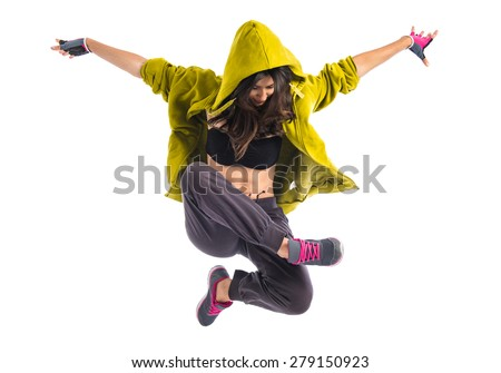 Teenager girl dancing hip hop - stock photo