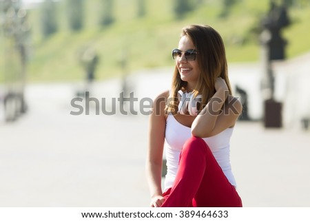 Teenager girl having time in outdoors - stock photo