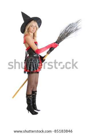 teenager girl in Halloween witch - stock photo