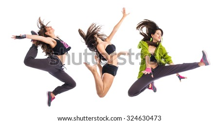 Teenager girl jumping in hip hop style - stock photo