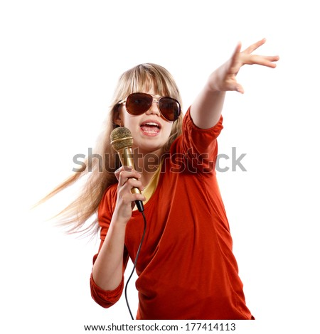Teenager girl singing on a white background - stock photo