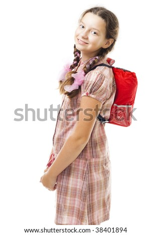 Teenager girl with back pack smile - stock photo