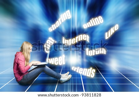 teenager girl with laptop, social media concept - stock photo
