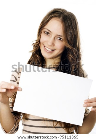 Teenager holding a piece of paper - stock photo