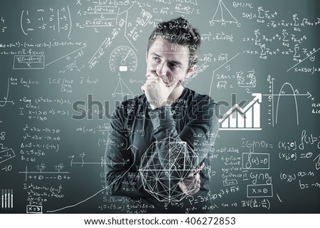 Teenager is thinking of a solution to a math formula - stock photo