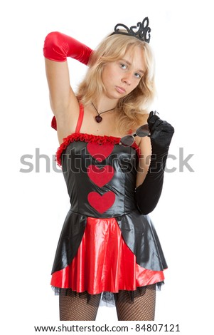 teenager princess girl in short dress and crown - stock photo