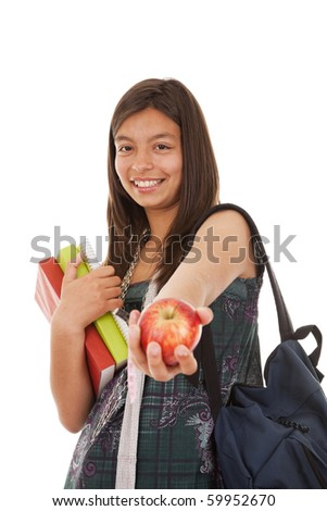 Teenager ready to go back to school (selective focus) - stock photo