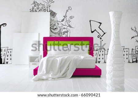 teenager's bedroom - stock photo