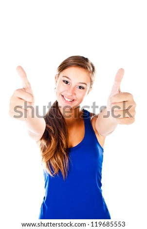 teenager showing thumbs up isolated on a white background - stock photo