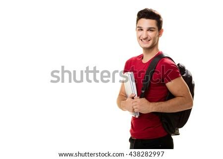 Teenager student on white background. - stock photo