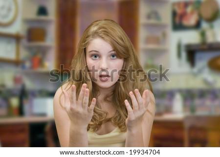 Teenager Trying Explain Her Idea - stock photo