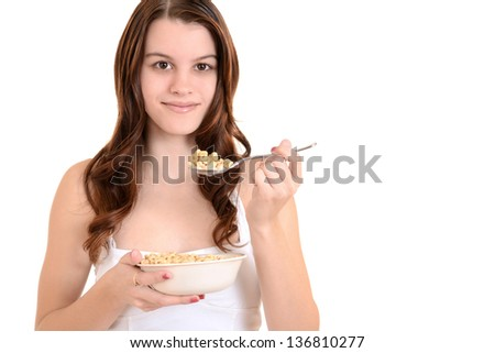 teenager with cereal - stock photo