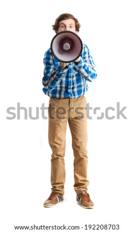 teenager with megaphone - stock photo