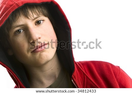 teenager with red swecher - stock photo