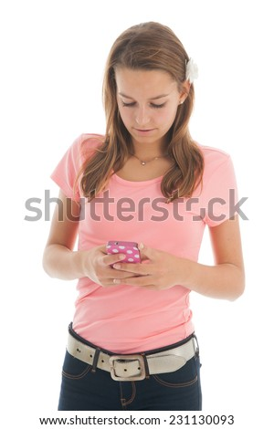 Teenager with smartphone isolated over white background - stock photo