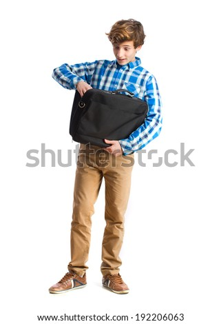 teenager with suitcase - stock photo