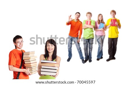 teenagers isolated on white - stock photo