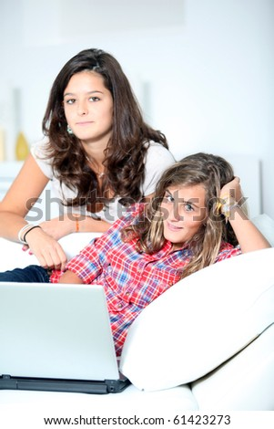 Teenagers surfing on internet - stock photo
