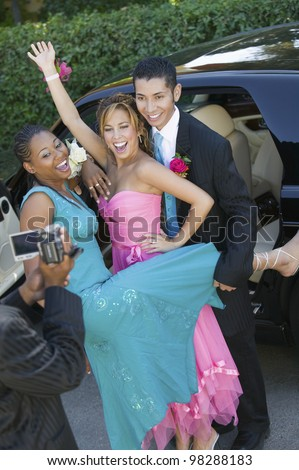 Teenagers Videotaping Their Prom - stock photo
