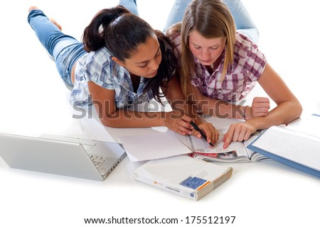 teens   study with laptop - stock photo