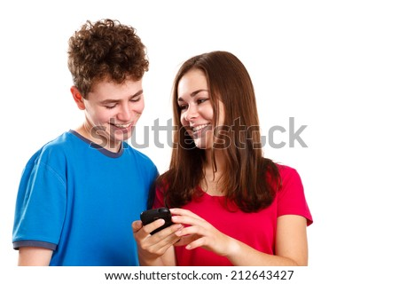 Teens using smartphone isolated on white background - stock photo