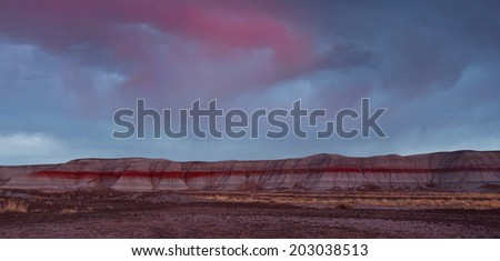 Teepee area of Petrified National Park in Arizona. - stock photo