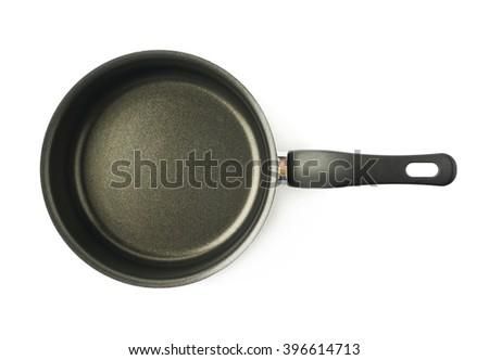 Teflon coated sauce pan isolated - stock photo