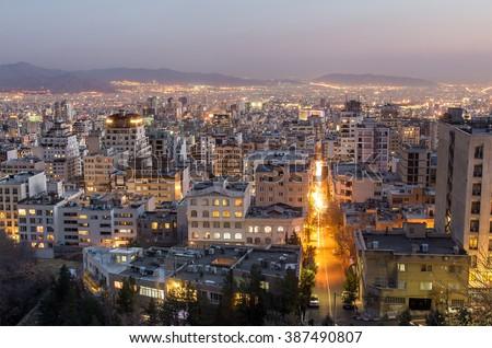 Tehran at night, Tehran, Iran - stock photo