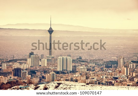 Tehran skyline with panoramic view of the city. - stock photo