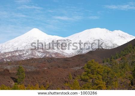 Teide volcano in snow - stock photo