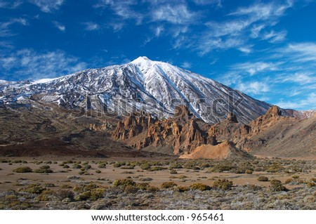 Teide volcano in snow - stock photo