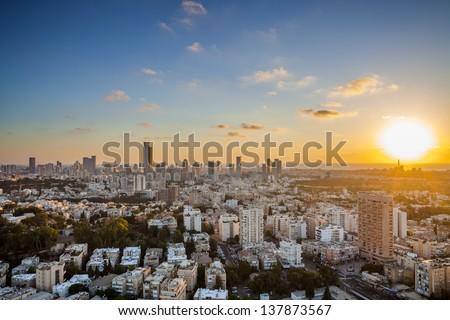 Tel Aviv and Ramat Gan Skyline at sunset - stock photo