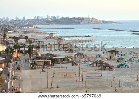 Tel Aviv Beach, looking from north to south, Israel - stock photo