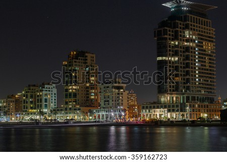 Tel Aviv city at night . Panoramic view . Israel - stock photo