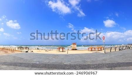 Tel Aviv city beach and embankment panoramic view. Mediterranean, Israel  - stock photo