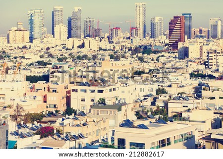 Tel-Aviv city view (Israel) Image done with a vintage retro instagram filter   - stock photo