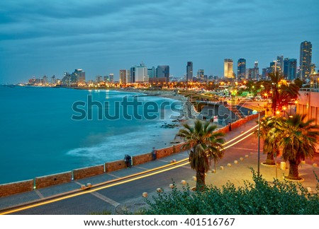 Tel Aviv, Israel. After sunset view from Jaffa - stock photo