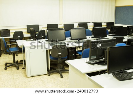 Tel-Aviv , Israel - December 25 . 2014 : Computer class at school in Tel Aviv.  Picture a classroom equipped with personal computers with LCD monitors . - stock photo