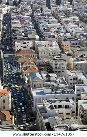 Tel-Aviv, Israel - February, 17th 2011: High angle view at the very busy Herzel street in downtown Tel-Aviv, Israel. - stock photo