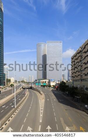 TEL-AVIV, ISRAEL - JANUARY 22, 2016: Empty Menachem Begin street in Tel-Aviv - stock photo
