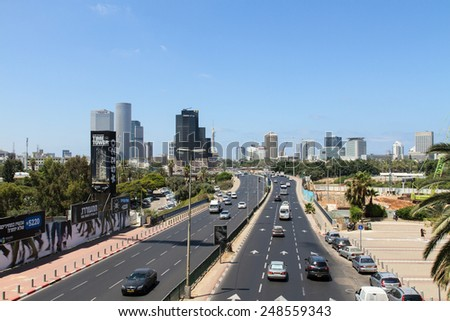 TEL-AVIV, ISRAEL - JULY 03, 2014: The traffic on Menachem Begin street from Ramat-Gan to Tel-Aviv - stock photo