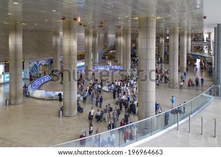 Tel Aviv,Israel - JUNE 5: A view of the Ben Gurion Airport Arrival Hall on June 05, 2014  in Tel Aviv,Israel.  Ben Gurion is the largest and busiest airport in Israel - stock photo